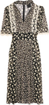 Anna Sui Crochet-trimmed printed crinkled-georgette dress
