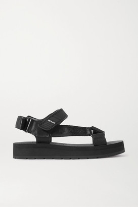 Prada Nomad Logo-print Rubber And Leather-trimmed Canvas Sandals - Black