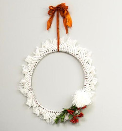 The Forest & Co. - Hand Made Macrame Christmas Wreath - White/Orange/Green