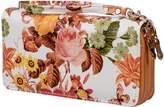 Nicci Women's Double Zip Around Wallet Organizer with Floral Print