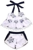 Mrs.Baker'Home 2PC Infant Baby Girl Blue+ Porcelain Sleeveless Tops +Tassle Shorts Outfits (6-12 M, )