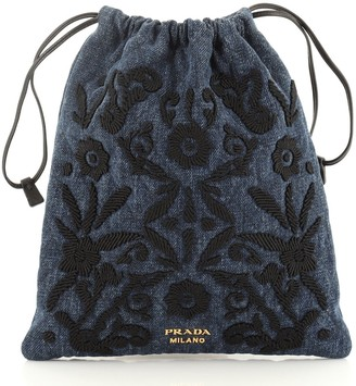 Prada Corsaire Drawstring Pouch Embroidered Quilted Denim Small