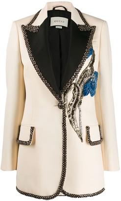 Gucci Embroidered Single Button Blazer