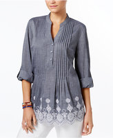 Style&Co. Style & Co Cotton Eyelet-Hem Top, Only at Macy's