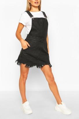 boohoo Frayed Hem Denim Overall Dress