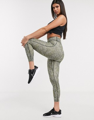 Nike Training one tight cropped leggings in leopard print