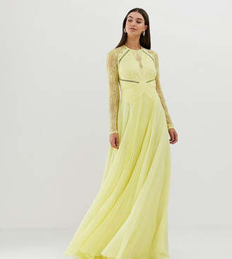 Asos Tall DESIGN Tall long sleeve lace panelled pleat maxi dress-Multi