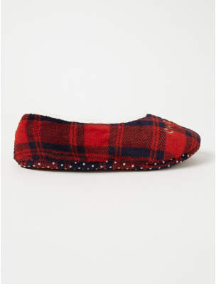 George Red Check Christmas Crew Slipper Socks
