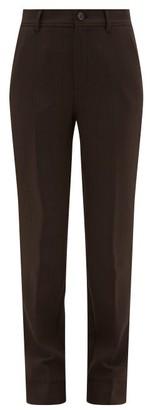 Ganni Pow-check Straight-leg Tailored Trousers - Dark Brown