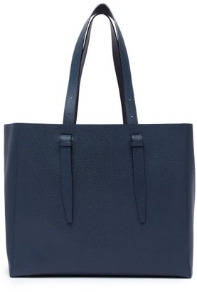 Valextra Large Grained-leather Tote - Navy