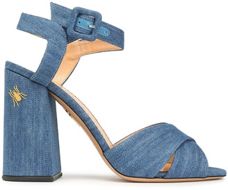 Charlotte Olympia Emma Embroidered Denim Sandals