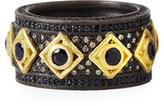 Armenta Old World Wide Band Ring w/ Black Sapphires & Diamonds
