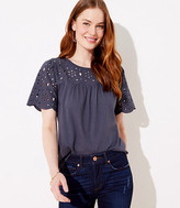 LOFT Eyelet Mixed Media Top