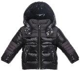 Moncler Thibert Hooded Two-Tone Puffer Jacket, Black, Size 12M-3