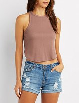 Charlotte Russe Ribbed Curved Hem Cropped Tank Top