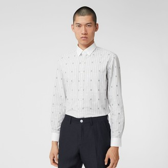 Burberry Slim Fit Star and Monogram Motif Check Cotton Shirt
