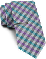Jf J.Ferrar JF Blurred Gingham Tie and Tie Bar Set - Slim