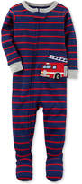 Carter's Firetruck Stripe-Print Footed Cotton Pajamas, Baby Boys