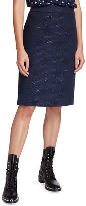 Maison Common Wool-Blend Star Jacquard Tweed Skirt
