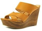 Report Everlynn Women Open Toe Synthetic Tan Wedge Heel.