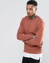 Criminal Damage Sweatshirt With Distressing