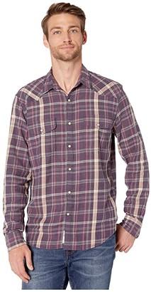 Lucky Brand Saturday Stretch Santa Fe Western Shirt (Purple Plaid) Men's Clothing