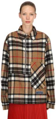 we11done We11 Done Zip-up Checked Wool Shirt Jacket
