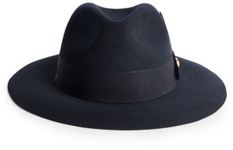 Holland Cooper Leather-Trimmed Wool Trilby Hat