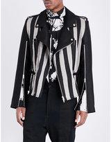Ann Demeulemeester Striped Linen-blend Biker Jacket