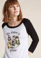 ModCloth The Future Is Feline Raglan Graphic Tee in 3X - Regular Waist