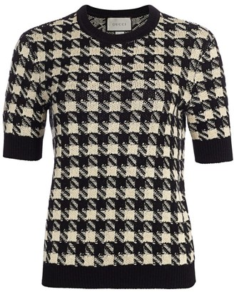Gucci Houndstooth Cashmere & Silk Short-Sleeve Sweater