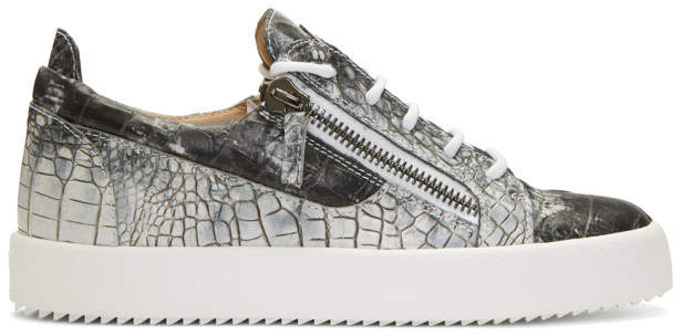Giuseppe Zanotti Grey and White Croc May London Sneakers