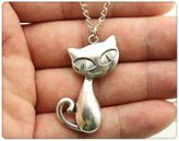 Nobrand No brand fashion simple antique silver tone cute cat pendant necklace , 70cm chain long necklace