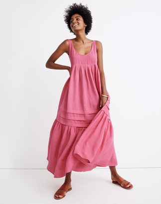 Madewell Solid & Striped Linen Tiered Cover-Up Maxi Tank Dress