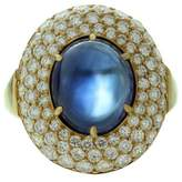 Harry Winston 18k Yellow Gold Diamond Blue Sapphire Dome Ring