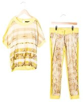 Miss Blumarine Girls' Snakeskin Printed Pant Set