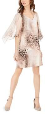 Connected Animal-Print Chiffon-Sleeve Dress