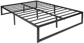 """Offex 14"""" Black Metal Rectangular Steel Slat Platform Bed Frame - Full"""