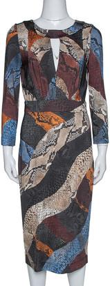 Just Cavalli Multicolor Animal Print Jersey Sheath Dress M