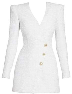 Balmain Women's Long-Sleeve Tweed Wrap Mini Dress