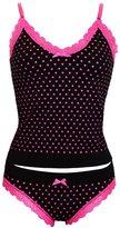Ice 6493-1) Contrast Lace Heart Vest and Knicker Nightwear Set Pink