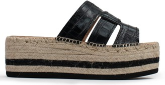 Kanna Bywell Black Leather Reptile Platform Espadrille Mules