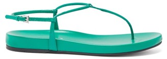Prada Ankle Strap Patent Leather Sandals - Womens - Green