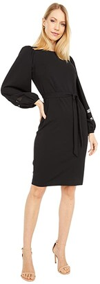 Calvin Klein Belted Dress with Illusion Sleeve Detail (Black) Women's Dress