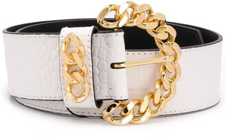 Kate Cate Crocodile-Effect Chain-Buckle Belt