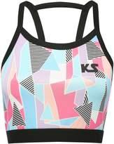 M&Co Kylie Sport geo print racer back crop top