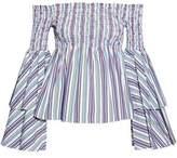 Caroline Constas Appolonia Off-The-Shoulder Shirred Striped Cotton-Blend Poplin Top