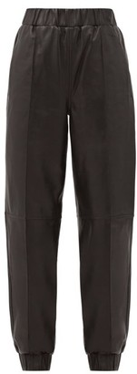 Ganni High-rise Leather Track Pants - Black