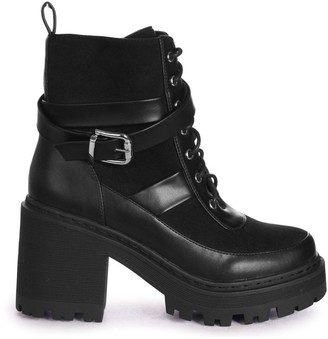 Linzi CHARM - Black Nappa & Suede Block Heeled Military Boot With Cleated Sole