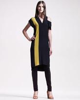 Maison Martin Margiela Colorblock V-Neck Dress, Black/Chartreuse